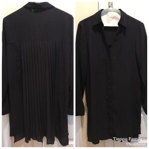 Zara Tops - Zara Long Sleeve Pleated (back) Navy Tunic Blouse